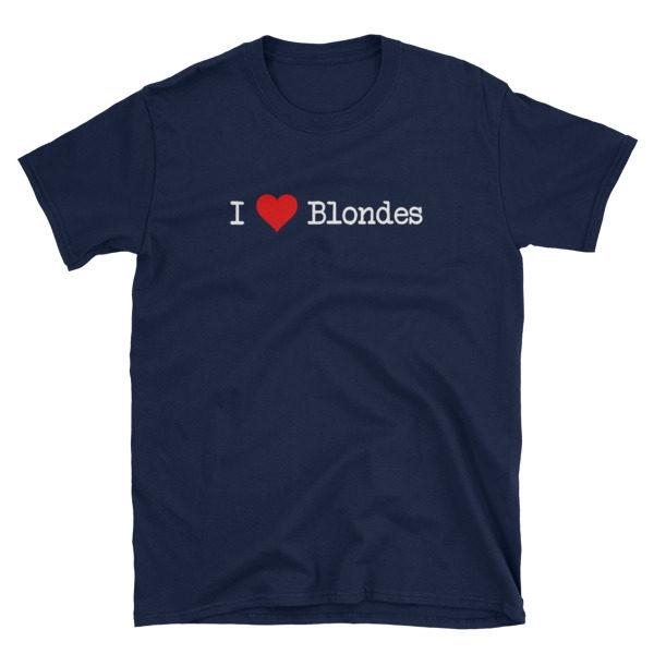 I Heart Blondes Navy Short-Sleeve Women's T-Shirt