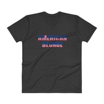 American Blonde Mens V-Neck Black T-Shirt