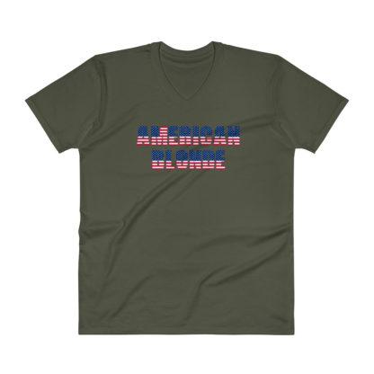 American Blonde Mens V-Neck Green T-Shirt