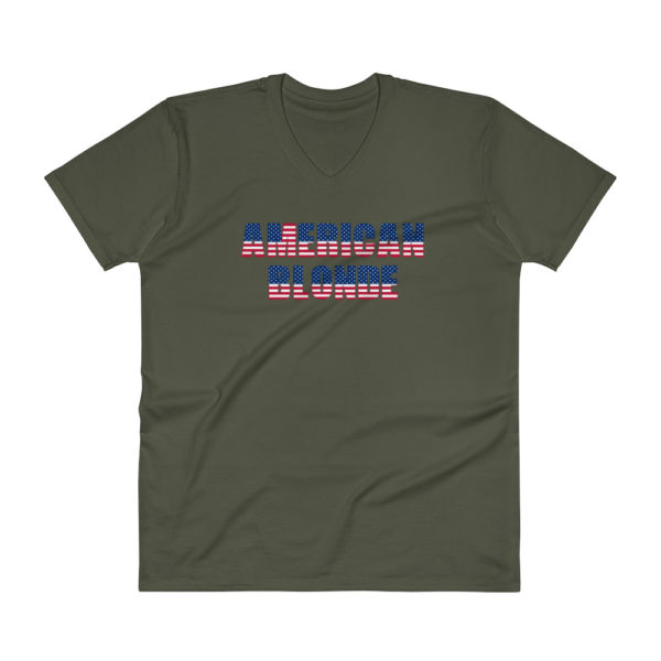 American Blonde Mens V-Neck Green T-Shirt