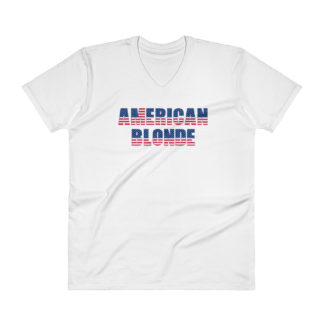 American Blonde Mens V-Neck White T-Shirt