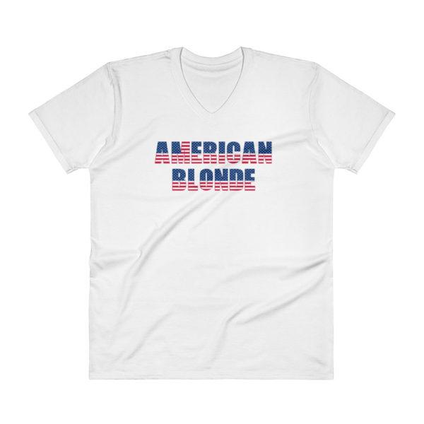 American Blonde Mens V-Neck White T-Shirt