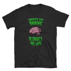 Zombies Eat brains, Blondes Are Safe - Short-Sleeve Men's T-Shirt (Dark)